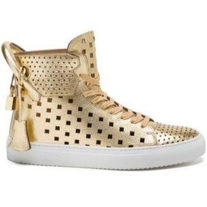 Buscemi 125MM Square Hole Leather Sneakers GOLD